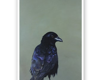 Mindful Eating Is Essential For Savoring...  18 x 24 Limited Edition Art Print - Crow - Bird - Nature - Giclee - Gift - Snowy