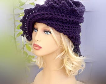 The Lauren Hand Crochet Beanie Hat,  Purple Hat Design for Stylish Women Who Want to Look Elegant Hat and Casual Hat