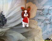 Cavalier King Charles Spaniel with antlers Christmas tree ornament, whimsical, clay, handmade, personalize