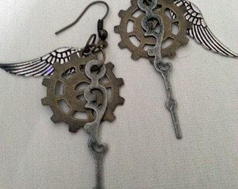 Steampunk Tempus Fugit Earrings I -- mixed metals