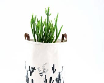 Large Bucket—Cactus Print On Natural Canvas