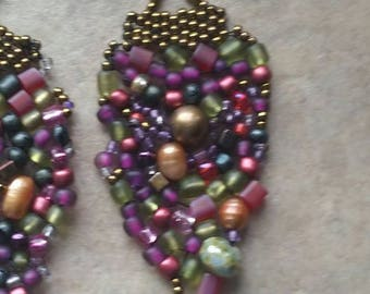 Handmade drop earrings, Beaded, freeform, Rich hues! by Kathy Jensen Designs
