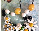 Vintage Enamel Statement Necklace. OOAK Necklace. Black, White, Yellow. Daisies Flowers
