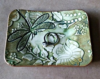 Ceramic Trinket Dish damask dragonfly Moss Green edged in gold