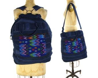 90s Guatemalan Backpack / Vintage Embroidered Huipil Cotton Convertible Large Tote / Vegan Hippie Boho Ethnic Travel Weekender Market Bag