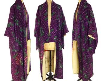 Silk Watercolor Grape Leaves Kimono Vintage 1970s Asian Duster Long Butterfly Sleeve Traditional Japanese Robe Ethnic Bohemian Art Nouveau