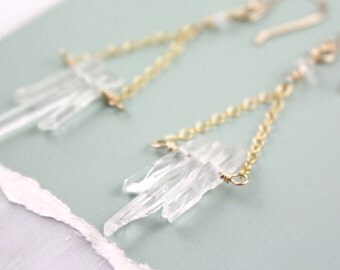 Crystal Icicles Gold Chandelier Earrings