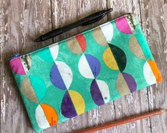 Zipper Pouch Turquoise Pouch Geometric Print Gift For Her Pencil Case Pencil Pouch Cosmetic Bag Back To School Makeup Pouch