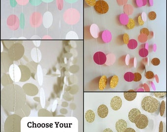 paper circle garland, 10 ft long, choose your colors, birthday party decoration, nursery decoration, first birthday,baby shower decoration