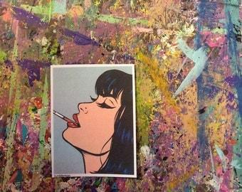 Smoking Comic Girl Sticker