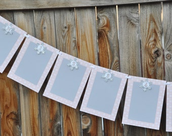 Pink & Silver Snowflake 12 Month Photo Banner- Winter Onederland