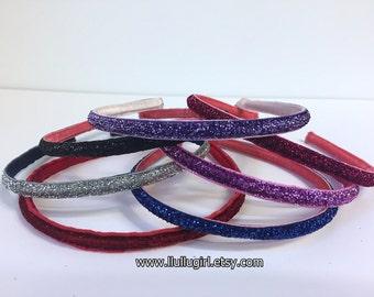 Sparkle Skinny Headbands - Non Slip Headbands - Headache Free Headband - Your Choice of Color - Ready to Ship - One Size Fits All