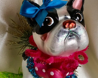 Adorable Boston Terrier Bulldog Glass Christmas Ornament, Handmade Hanger with Swarovski Crystal Beads, Dog Lover Gifts, Whimsical Gifts