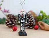 Sugar Skull Skeleton Nutcracker and Ornament - Red and Green