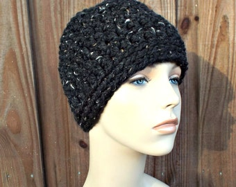 Obsidian Black Messy Bun Beanie - Messy Bun Hat -  Ponytail Beanie - Top Knot Hat - Crochet Hat Womens Hat Winter Hat - 38 Colors