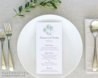 Palm Tree Wedding Menu Cards, Rehearsal Dinner Menu Cards, Beach Wedding Menus, Tropical Wedding Menus, Destination Wedding, Printed Menus