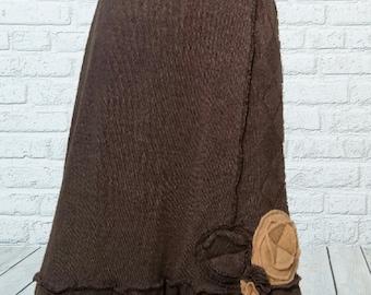 Ruffled Sweater Skirt M Medium Recycled Gray Cream Eco Friendly Patchwork