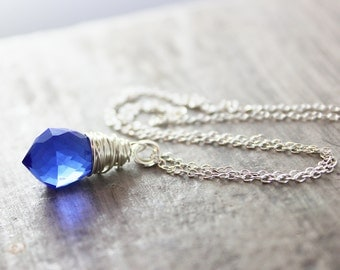 Cobalt Blue Necklace, Wire Wrap Pendant Necklace, Blue Silver Necklace, Quartz Gemstone Necklace, Dainty Chain Necklace, Quartz Necklace