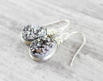 Sterling Silver Druzy Earrings, Druzy Teardrop Earrings, Wire Wrap Earrings, Drusy Gemstone Earrings, Druzy Quartz Earrings, Elegant Dangle