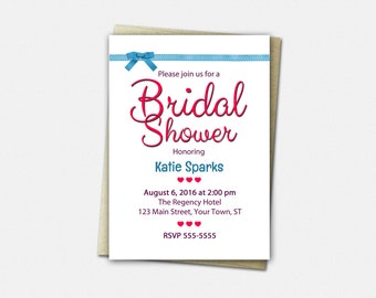 Bridal Shower Invitations - Bridal Shower Invitations - Hearts & Ribbons - Wedding Shower Invitation