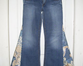 Glamping Hippie Bell Bottom Jeans OOAK Retro Boho Upcycled Flare Jean Unique Fabric Silver Aiko Bell Bottoms Adult Jeans 32 Ready to Ship
