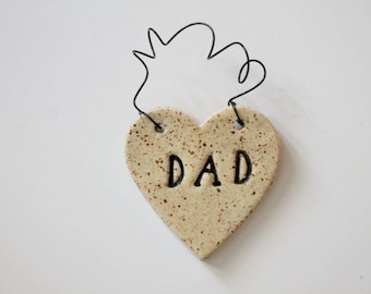 Dad Ornament - ceramic clay - heart shaped - personalized - handmade - ready to mail