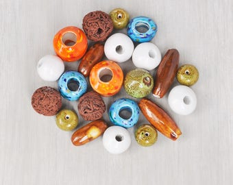 22 Big Ceramic Beads - large brown green orange white turquoise porcelain bead lot - 18 to 42 mm rounds tubes