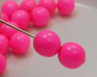 8mm Czech Druk Beads Round Neon Pink (15pk) si-8DK-NePink