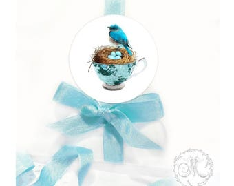 Bird sticker, birds nest in a teacup, Easter decoration, scrapbooking, diary, planner, card-making, seals, set of 4