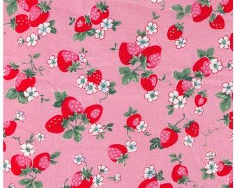HALF YARD Yuwa - Medium Strawberries and Small Flowers on PINK - Atsuko Matsuyama 30s collection -  Japanese Import Fabric