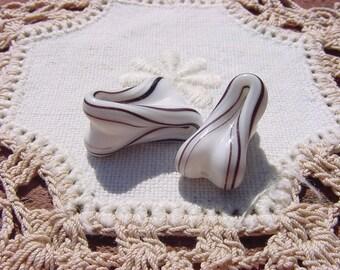 Ribbon Swirled Taffy Vintage Japanese Lampwork Glass Beads