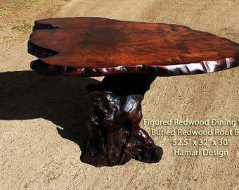 Live Edge Redwood Burl Coffee Table, Burled Redwood Root base, by Joni Hamari