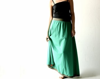 Maxi Skirt, Cotton skirt, Long skirt, Boho skirt, Bohemian skirt, womens clothing, Green skirt, Jersey skirt, Maternity, Plus size clothing