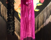 Art Deco Fringy Fuchsia Dress Velvet
