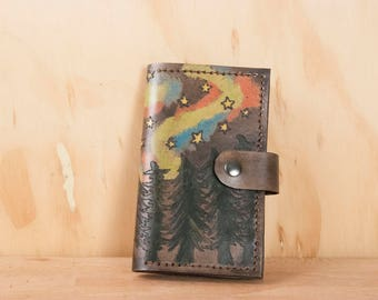 Coin Pocket Wallet - Small Womens Leather Wallet in the Stars pattern with Northern Lights, Trees and Stars - Third Anniversary Gift