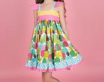 Girls Pineapple Dress - Girls Dress - Girls Beach Dress - Girls Beach Outfit - Vacation Dress - Beach Dress - Summer Dress - Spring Dress