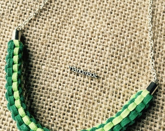 Modern Faux Suede Cord Woven Necklace - Green / Light Green - Silver Chain - Simple Chic Minimalist