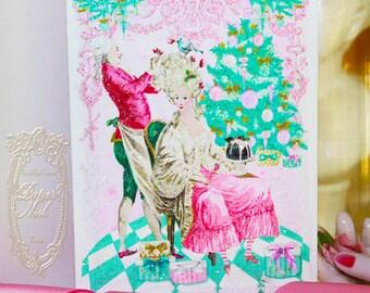 "Marie Antoinette Pink Christmas Coiffure de Noel Set of Six 5 x 7"" Folding Cards and White Shimmer Metallic Envelopes, Seals, Custom Postage"