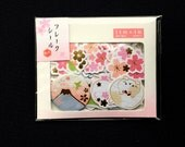 Cherry Blossom Stickers - Chiyogami Paper Stickers - Japanese Stickers - Cat Stickers - Flower Sticker Flakes - Bird Stickers  (S134)