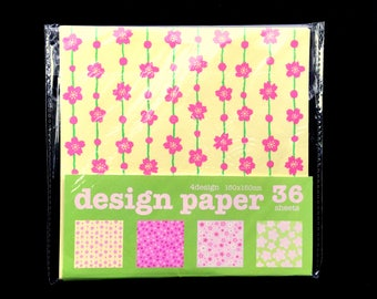 Japanese  Paper - Origami Paper - Japanese Flower Paper - Cherry Blossoms - Plum Blossoms - 4 Patterns 36 Sheets 15 x 15 cm