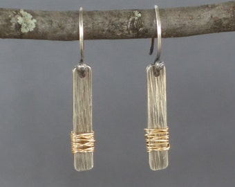Stick Earring, Gold and Black Earrings, Tree Bark Texture Stick Earrings, Blackened, Two Tone Earrings