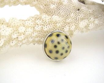 Dotted art glass snap charm chunk popper interchangeable handmade