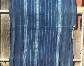 Vintage INDIGO Fabric textile Hand Woven Africa Blanket stripe pattern Wrap hand patch repair  Woven Cotton Vegetable dye