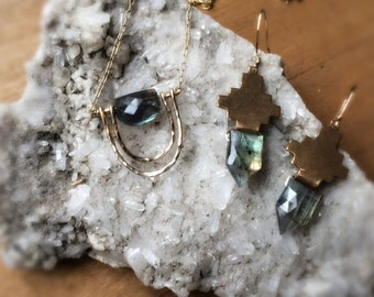 Bronze + Faceted Labradorite Earrings