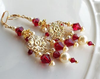 Gold Chandelier Earrings, Dark Red Crystal Chandelier Earrings, Red Gold Crystal Long Earrings, Red Crystal Pearl Chandelier Earrings, Red