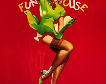 ELVGREN - FUNHOUSE  - Pinup WWII Bomber Nose Art UpSkirt Legs, Nylons, Stockings Painties, Pin-Up Girl Dress Lingerie