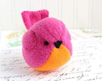 Pink and Orange Plush Bird Stuffed Animal Childrens Handmade Fleece Bird