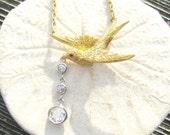 Antique Bird Diamond Necklace, Three Fiery Old European Cut Diamonds .66 ctw, Detailed Victorian Swallow, 15K Gold, Period Chain, Charming