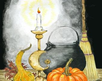 Samhain Halloween Print Celtic Fall Autumn Harvest Pagan Wicca Fantasy Art Cauldron Broom Altar Decor Magick Witchcraft Ink Watercolor