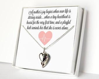 New Mom Gift, Women's Jewelry, Charm Necklace, Baby Shower Gift, Expecting Mother Gift, Heart Necklace, Etched Footprint Charm, Gift For Her
